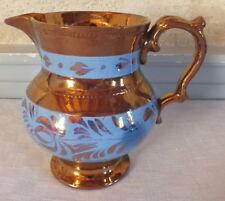 Jersey faience bleu et doré pichet décor bleu à fleurs pitcher