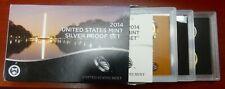 2014-S US Mint Silver Proof Set Box & CoA - boe