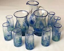Authentic Glass From Biot, France - Hurricane Lamp and Jug Green Blue