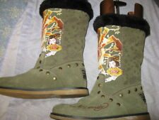 ED HARDY OLIVE GREEN LEATHER SURFER BOOTS, SZ 9, EXCELLENT