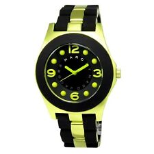 MARC JACOBS PELLY BLACK SILICONE WRAPPED LIME GREEN ALUMINUM WATCH MBM3503