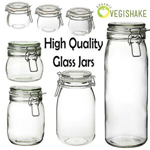 Korken Mason Jar with Lid Clear Glass Food Storage with Rubber Seal High Grade
