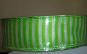 1 1/2 inch Lime Green with White wired  ribbon Weddings, crafts, Easter, wreath