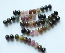 Multi Color Tourmaline rondelle Beads. Natural Tourmaline. Faceted. 10 beads
