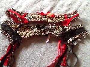 Native Intimates Garter Belt Sexy Animal Print RED or Tan S 5 M 6 L 7 XL 8 NWOT