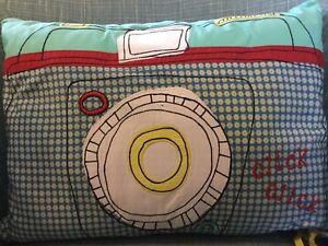 Super Cool Blue Mamas & Papas Camera Cushion - BNWT - RRP £22.50