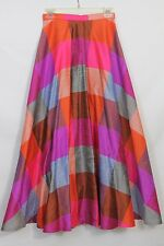 Vintage Womens Swing Long Skirt A-line Bold Bright Multi Color Block