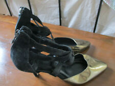 Office ladies leather/suede black and gold shoes  -UK7/EU40