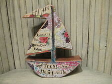 """Kelly Rae Roberts """"Trust Your Heart Sails"""" Faith Wooden Boat Cutout Sculpture"""
