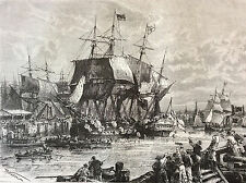 English ships in Boston 1773 engraving etching 19th century England USA America