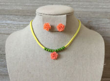 Kids Girls Peach Flower, Green Beads, Yellow Cord Necklace & Earrings Set