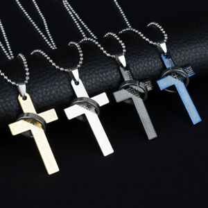 Cross Necklace pendant with chainin Gold, Silver, Blue & Black BY JR UK SELLER