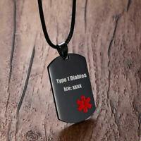 Emergency Life Saving Medical Alert Dog Tag Pendant Men Necklace Stainless Steel
