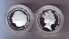 1989 50 Cent SILVER Coin Prince Wales Lady Diana Di ex Masterpieces in Set -