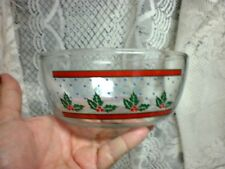 Vintage Kig Malaysia Christmas Glass Bowl 6 inches Holly & Red Berries Blue Dots