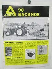 Arps Model 90 Backhoe Sales Brochures Specifications