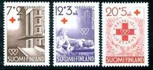 Finland Semi Postal Stamps Scott #B104-B106 Hospital; Blood Donor Medal 1951