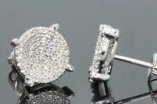 10K WHITE GOLD .40 CARAT MENS WOMENS 9 mm 100% GENUINE DIAMONDS EARRING STUDS