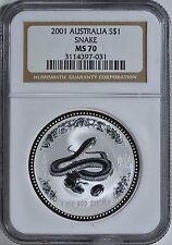Australia 2001 P S$1 Silver Snake NGC MS70 Coin Bullion Australian