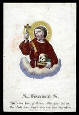 santino incisione 1800 S.FRANCESCO D'ASSISI  dip.a mano RUDL