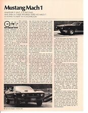 1971 FORD MUSTANG MACH 1 429/370 HP ~ ORIGINAL 3-PAGE ROAD TEST / ARTICLE / AD