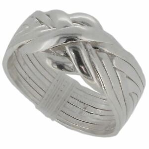 Sterling Silver 8 Band Puzzle Ring - Classic Design -  Choose Your Sizes L to X