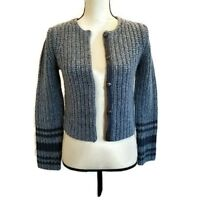Eddie Bauer Womens Sweater Size Small Blue Button Front Snaps