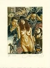 """Fatal Woman""  Nude, Dog, Mandolin Music, Ex libris Etching by S. Kirnitskiy"