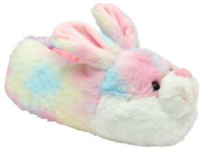 British Footwear Bunny Rainbow Rabbit Slip On Candyfloss Novelty Animal Slippers
