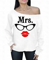 Mrs Glasses Lips Off The Shoulder Oversized Slouchy Sweater Sweatshirt