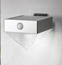 Solar LED Wandleuchte Wandlampe mit Bewegungsmelder Außen Strahler Edelstahl S24