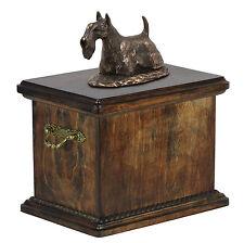madera Ataúd Terrier Escocés CONMEMORATIVO Urna para de perro ashes ,con statue.