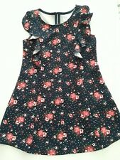 Girls Dress Sz 4T Beauties Sleeveless Large Front Ruffles Black Pink Floral