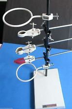 """Heavy Lab Stand Support Stand 9"""" x 6"""" with S.S. Rod & Clamps, Funnel Holder Etc"""