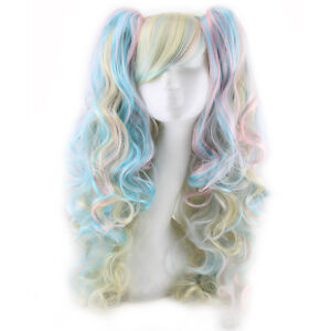 Pretty Lolita Full Curly Wigs Pigtails Wavy Hair Cosplay Costume Anime Party