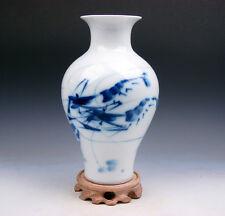 Blue&White Glazed Porcelain Live-Like Shrimps Painted Vase w/ FREE Stand #032917