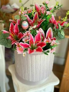 Hat Box Flowers Artificial Silk Bouquet Gift for Spring Home Decoration