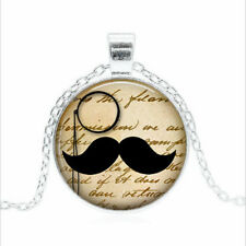 Mustache & Monocle Tibet silver Glass dome Necklace chain Pendant Wholesale