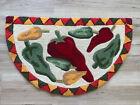 Stunning Vintage Hand Hooked Chili Pepper Southwestern half moon rug