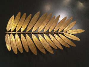 Vintage palm leaf wall hanging or Fruit Bowl gold Kitchenware mid century modern