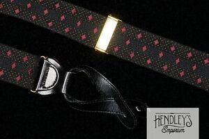 TRAFALGAR Suspenders in Mulberry Diamonds on Jet Black Silk Brass Leather USA