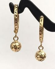 18k Solid Yellow Gold Small Ball Dangle Hoop Earrings, Diamond Cut 1.24 grams