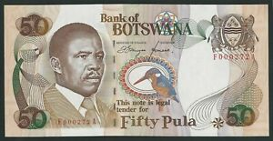 BOTSWANA 50 PULA  1992  P-14a 6 DIGIT  LOW NUMBER F000272A  UNC