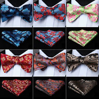 Paisley Floral Red Bow Tie Self Ties Mens Silk Wedding Handkerchief Set#J07