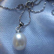 A Beautiful Pearl Drop Necklace with 925 Sterling Silver Chain UK Seller