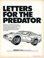 1971 Formula 1 Super Stock Tires Letters for the Predators Print Ad.