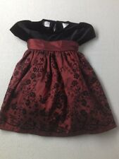 Baby Girl Black Velour Red Holiday Dress Special Occasion Winter Size 18 Months