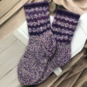 Size L 6-7 Hand knitted Mohair Wool Blend Native Folk Style Cosy Lounge Socks