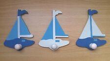 Lot de 3 Patères murales Chambre bébé enfant Bateau Bleu 13 cm Yves Rocher