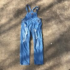 Distressed Destroyed Denim Jean Overalls Women's Size Medium Carpenter